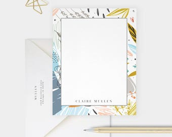 Abstract Floral, Personalized Stationery