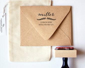 Laurel Script Return Address Stamp