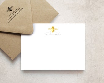 Vintage Bee Note Cards, Personalized Stationery