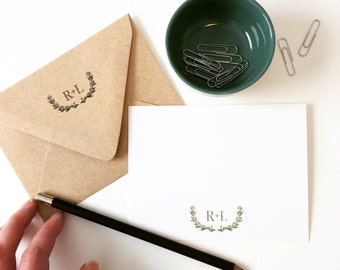 Laurel Note Cards, Personalized Stationery