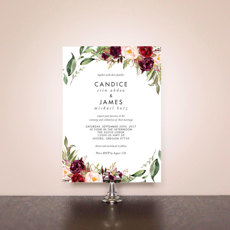 Burgund Blumen Hochzeit Einladung Suite Etsy