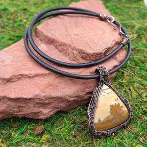 Owyhee Picture Jasper Natural Stone Wire Wrapped Pendant Necklace