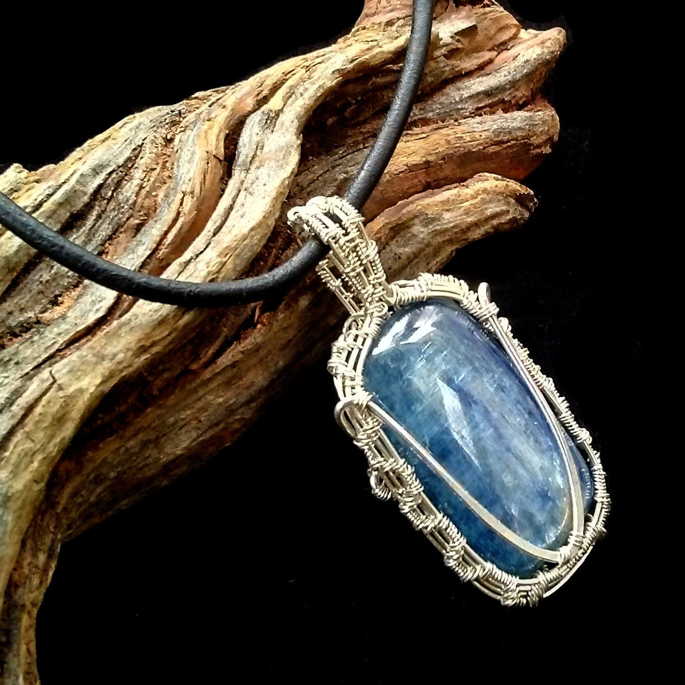 Natural Sterling Silver Wire Wrapped Unpolished Titanium Black Kyanite Pendant with chain 9578P