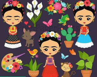 Lil' Frida Clipart - Digital download - Cute Frida - Mexico clip art - Digital stickers