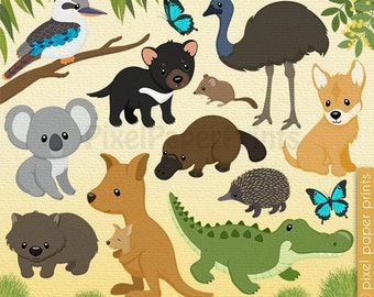 Australian Animals clip art - Australia clipart - Digital download - Australian animals digital stickers