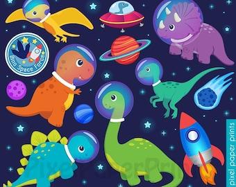 Dinosaurs in space Clip Art - DINOSAUR Clipart - Cute Dinosaur Graphics - Digital Download - Digital stickers