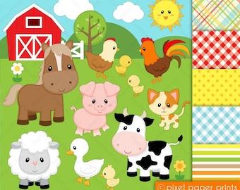 Digital clipart - Farm Animals - Digital paper and clip art set - Digital Download
