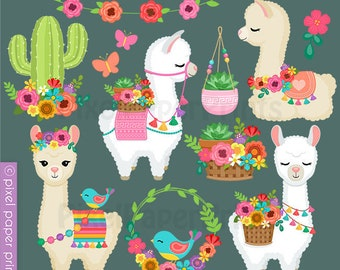 Darling Llamas - Decorated Llama - clipart - Alpaca Clip Art - Digital download - Cute llama - Alpaca Graphics - Spring - Digital stickers