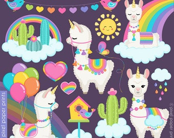 Llamacorns and Rainbows clipart - Unicorn Llamas - clipart - Alpaca Clip Art - Digital