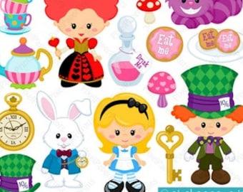 Alice in Wonderland Part 1 - Alice clipart - Clip Art and Digital paper set