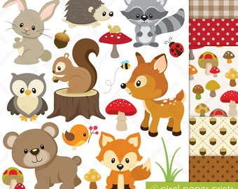 Woodland Animals - Clip art and Digital paper set