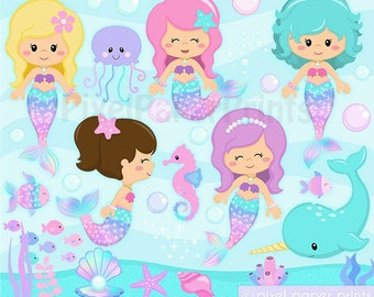 Cute Mermaids Clip Art - Mermaid clipart - Digital download