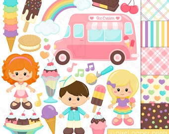 Ice cream Truck Clipart - Clip Art and Digital paper set - Icecream