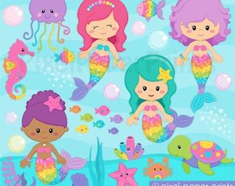 Mermaid Clipart - Rainbow Mermaid Clip Art