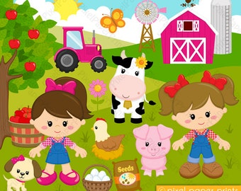 Farmer girls - Farm clipart - Clip Art and Digital paper set