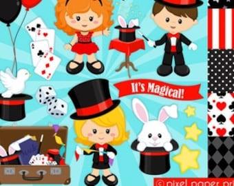 Magicians - Abracadabra clipart - Clip Art and Digital paper set