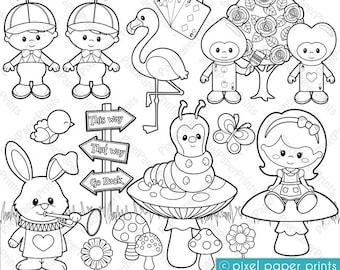 Alice in Wonderland Part 2 - Digital Stamps - Clipart