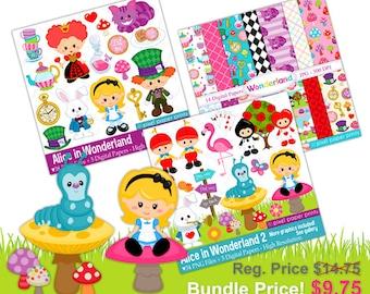 Alice in wonderland Bundle - Clip art and Digital Paper - Bundle price