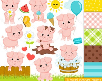 Cute Piglets - Pig clipart - Clip Art and Digital paper set