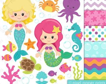Pretty Mermaid - Clipart and Digital paper set