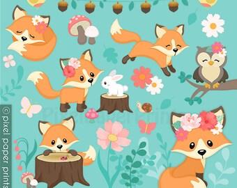 Whimsical fox - Spring - Clipart - Fox Clip Art - Digital download - Cute fox - Digital Download