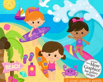 Surfer Girls Clipart - Clip Art and Digital paper set