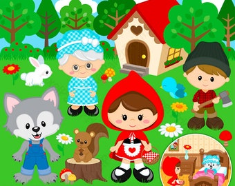 Little Red Riding Hood - clipart - Clip Art and Digital paper set