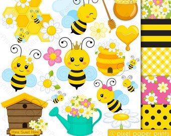 Busy Bee - Clip art and digital paper set - Spring clipart - Digital Download - Digital Stickers - Save the bees