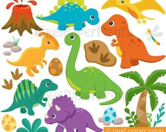 Dinosaur clipart - DINOSAURS - Clipart and Digital Paper Set - Cute Dinosaur Clip Art - Digital Download