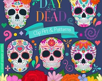 Day of the Dead clipart - Sugar Skull - Dia de los muertos - Clip art - Digital Download