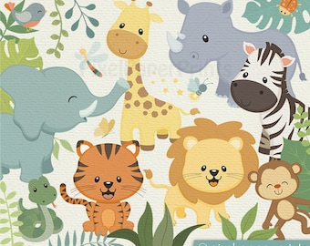 Safari Animals Clip art - Cute animals - clipart - Jungle Clip Art - Digital download - Jungle Animals Digital Stickers