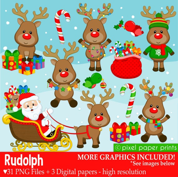 f7a2cd3a7 Rudolph the Red Nose Reindeer - Christmas clipart - Clip Art and Digital  paper set