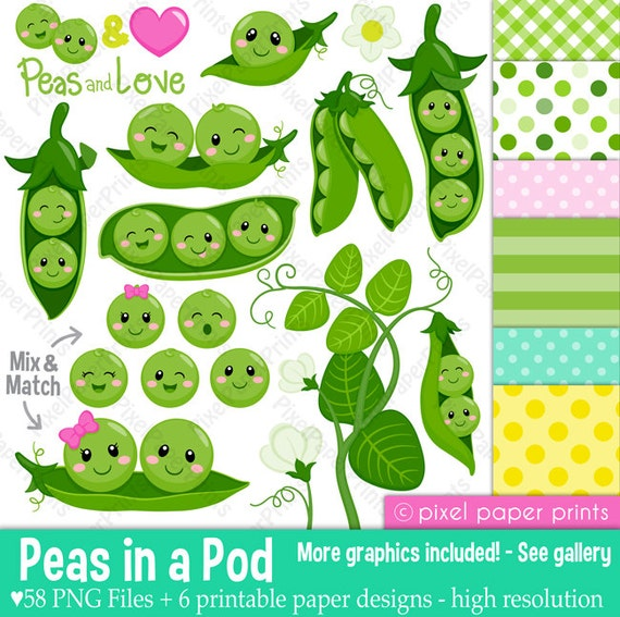 Peas In A Pod Clipart Clip Art And Digital Paper Set Etsy