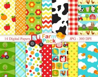 Farm Pack- Digital paper set - Farm Backgrounds