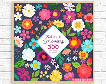 Flower Clipart - Joyful Flowers - Floral Clip art and Printable Papers - Digital - Instant download - Digital stickers