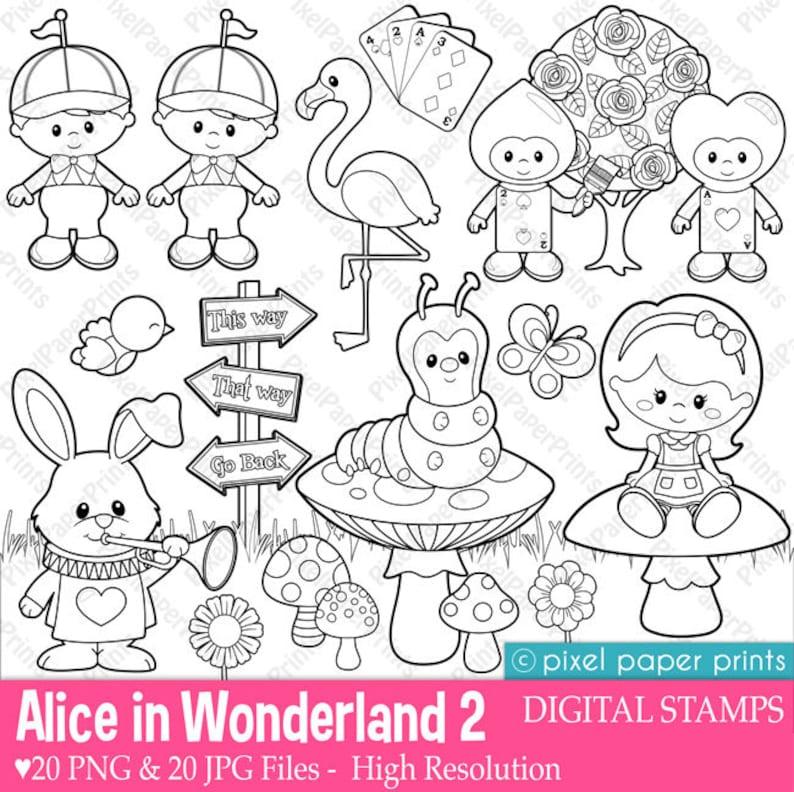 Alice In Wonderland Part 2 Digital Stamps Clipart