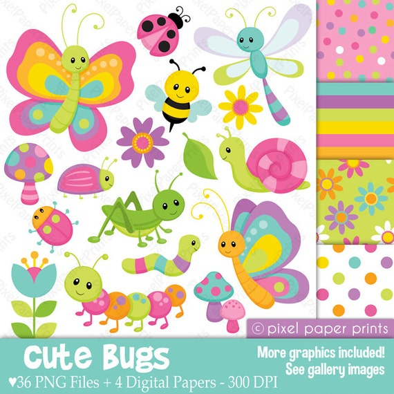Cute bugs Clipart and Digital Paper Set