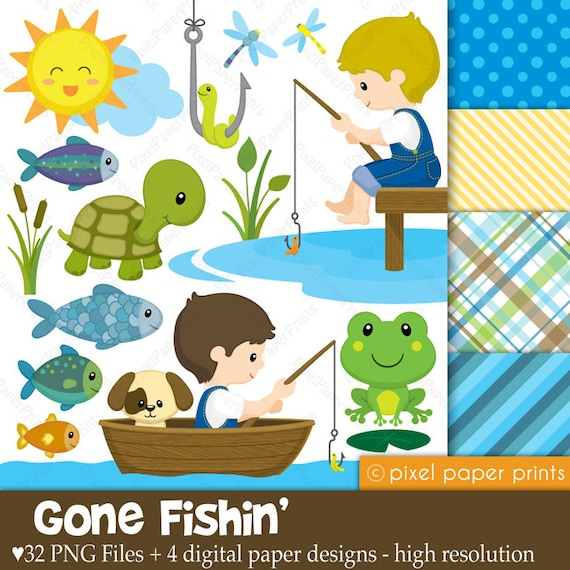 gone fishing clipart and digital paper set rh etsy com gone fishing clip art free Clip Art Fishing Sign