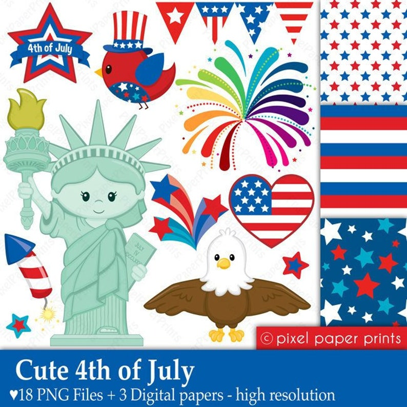 Independence day clipart - CUTE 4th of JULY - Clipart and Digital paper set
