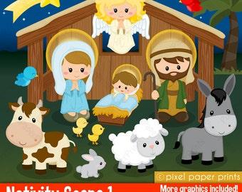 Nativity Scene 1 - Clip art and digital paper set - Nativity clipart