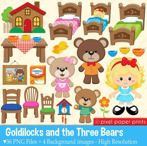 goldilocks the three bears clipart and digital paper set rh etsy com goldilocks and the three bears clipart free Goldilocks and the Three Bears Clip Art Black and White