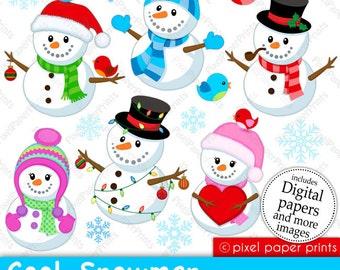 Snowmen - Clip art and Digital paper set