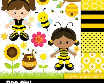 Bee Girl - Clip art and digital paper set