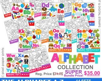 Alphabet Clipart  - ABC clip art - SUPER Bundle price - School clip art