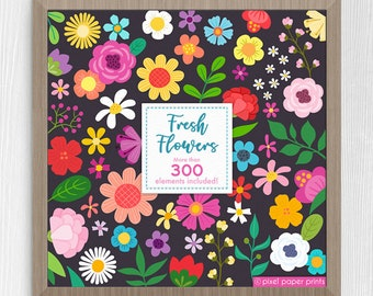 Flower Clipart - Fresh Flowers - Floral Clip art and Printable Papers - Digital - Instant download - Colorful Flowers - Digital stickers