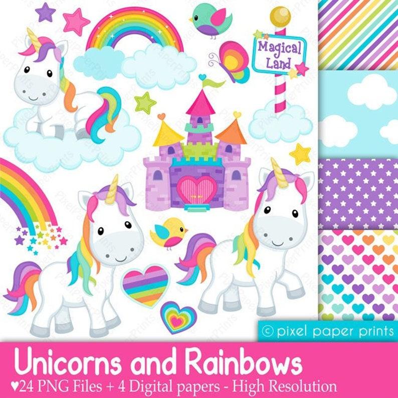 Unicorns and Rainbows - Unicorn Clipart Rainbow Clip Art