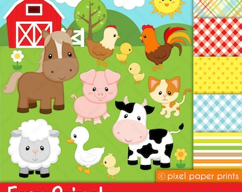 Digital clipart - Farm Animals - Digital paper and clip art set