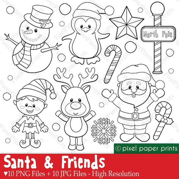 Santa and Friends Digital Stamps | Etsy