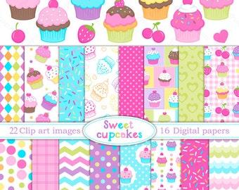 Cupcake clipart- SWEET CUPCAKES - Digital paper  and clip art set