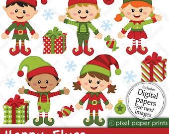 Christmas clipart - Happy Elves - Clip art and Digital paper set